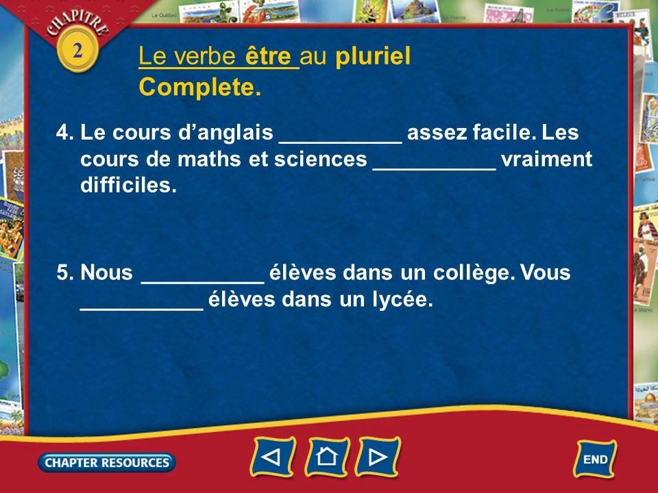 2 Le verbe être au pluriel Complete. 1.Je __________ américain. Mes deux amis __________ canadiens. 2. Nous __________ très forts en français. 3. Anne