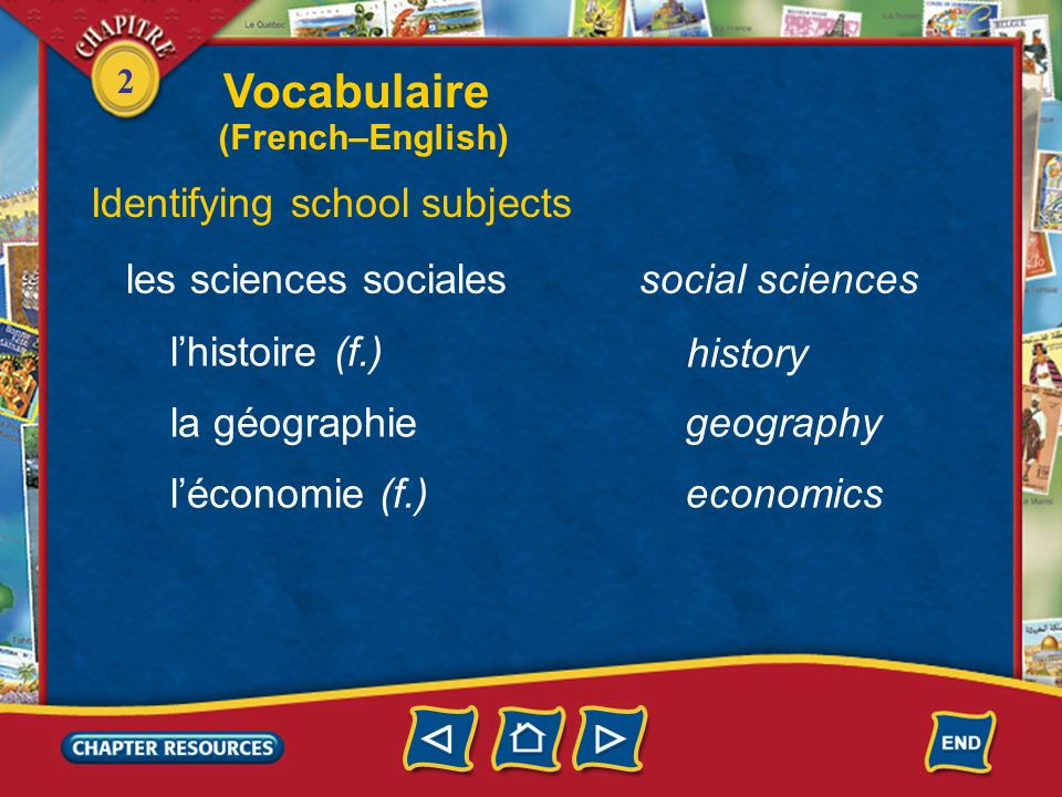 2 Identifying school subjects le français lespagnol (m.) litalien (m.) lallemand (m.) French Spanish Italian les langues (f.