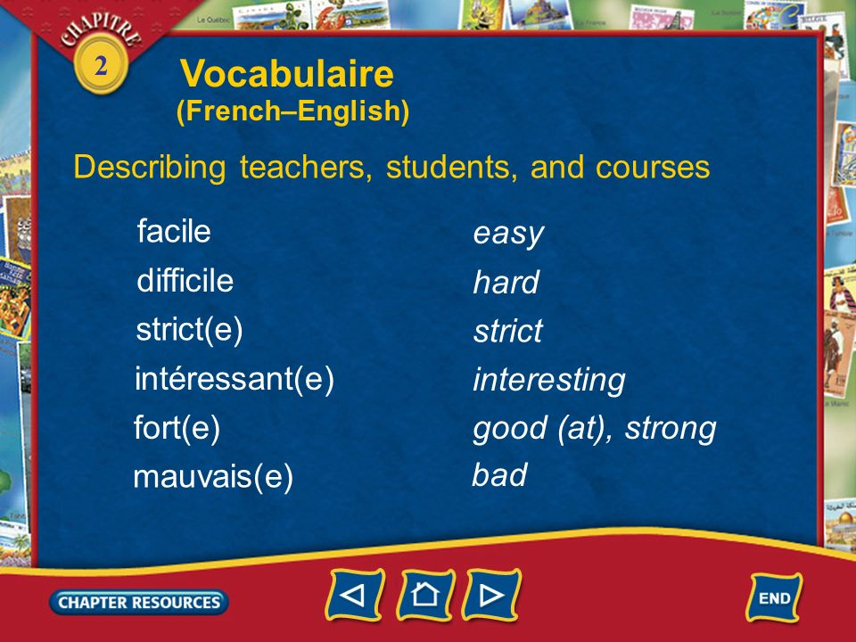 2 Identifying school subjects la littérature linformatique (f.) la gymnastique literature computer science gymnastics dautres matières other subjects la musique le dessin music drawing; art Vocabulaire (French–English)