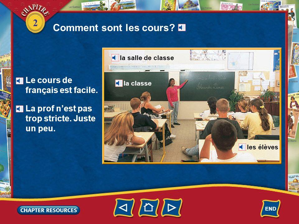 2 Comment sont les cours.Le cours de français est facile.