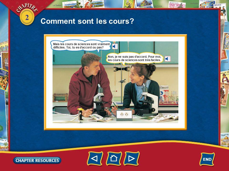 2 Comment sont les cours. Le cours de français est facile.