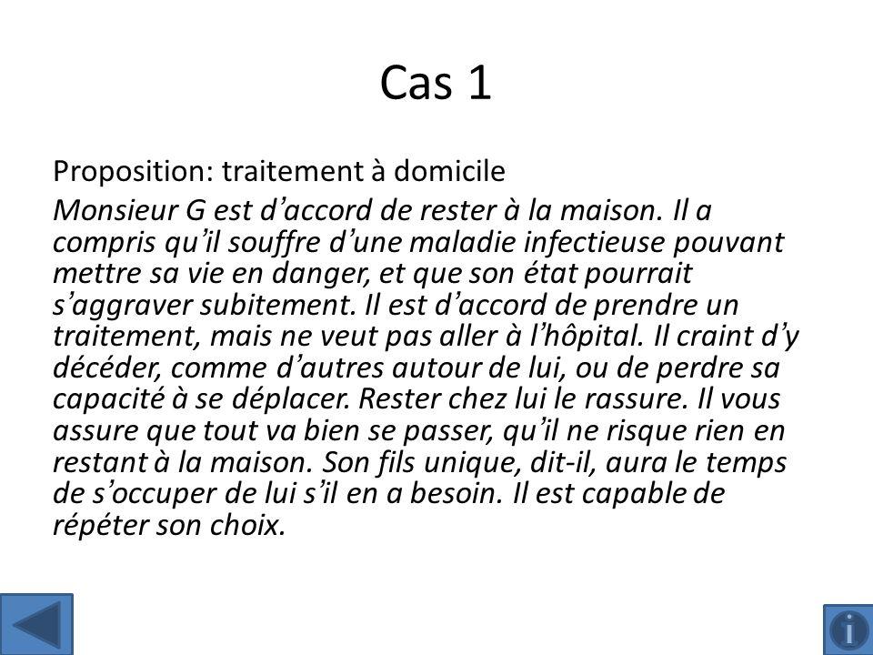 Cas 1 Proposition: traitement à domicile Monsieur G est daccord de rester à la maison.