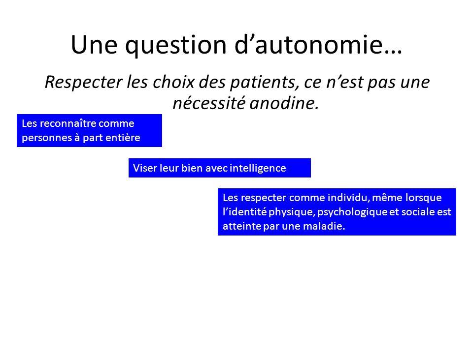 Respecter les choix des patients, ce nest pas une nécessité anodine.