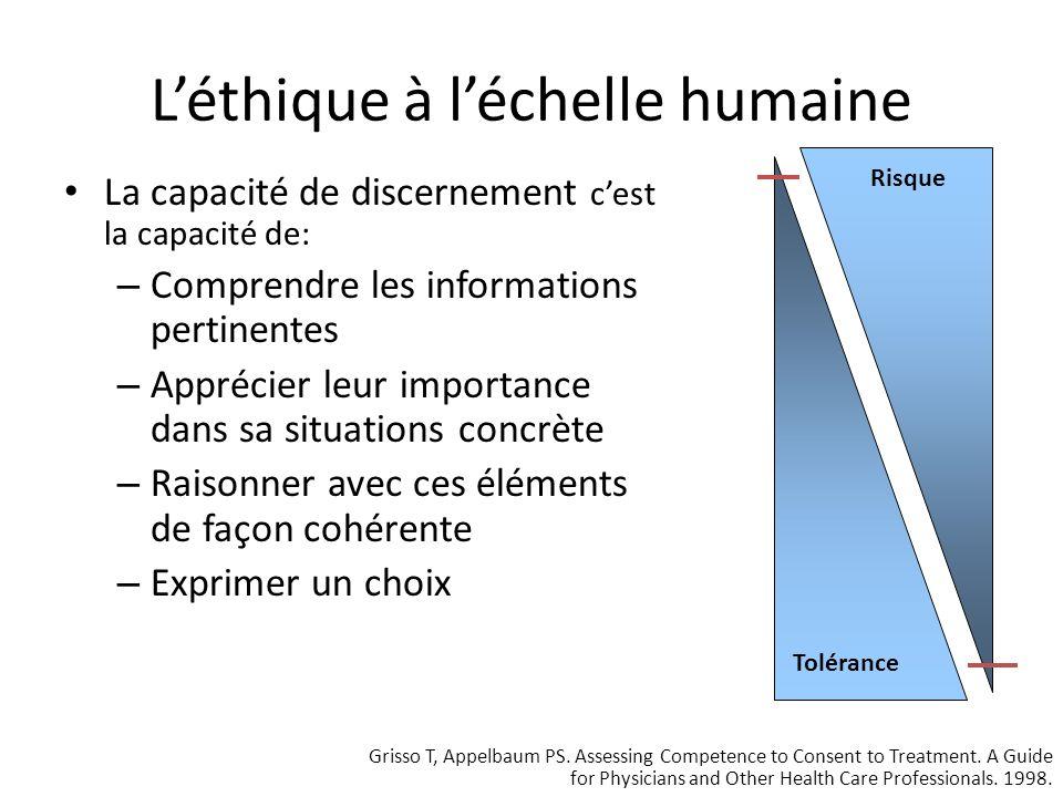 Léthique à léchelle humaine La capacité de discernement, ce nest pas: Une mesure du résultat – On évalue la capacité, la façon dont un choix est fait, et non le résultat.