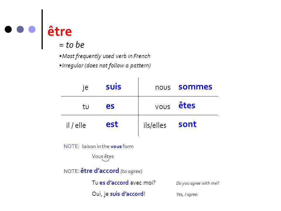 être je suis tu il / elle es nous vous ils/elles sommes êtes sont NOTE: être daccord (to agree) Tu es daccord avec moi? Do you agree with me? Oui, je