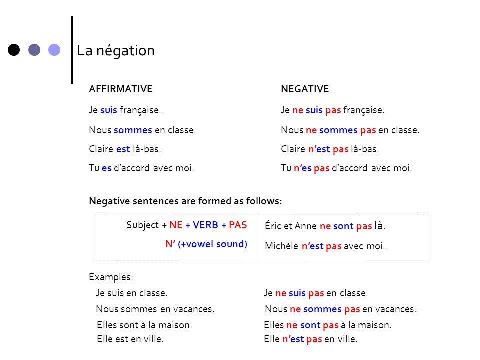 La négation AFFIRMATIVENEGATIVE Je suis française.Je ne suis pas française. Nous sommes en classe.Nous ne sommes pas en classe. Claire est là-bas.Clai
