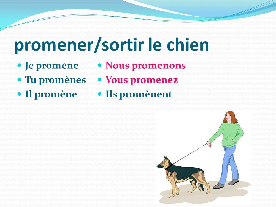 promener/sortir le chien Je promène Tu promènes Il promène Nous promenons Vous promenez Ils promènent