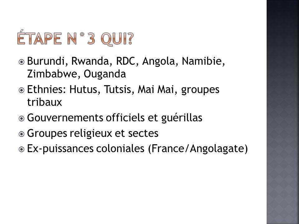 Burundi, Rwanda, RDC, Angola, Namibie, Zimbabwe, Ouganda Ethnies: Hutus, Tutsis, Mai Mai, groupes tribaux Gouvernements officiels et guérillas Groupes religieux et sectes Ex-puissances coloniales (France/Angolagate)
