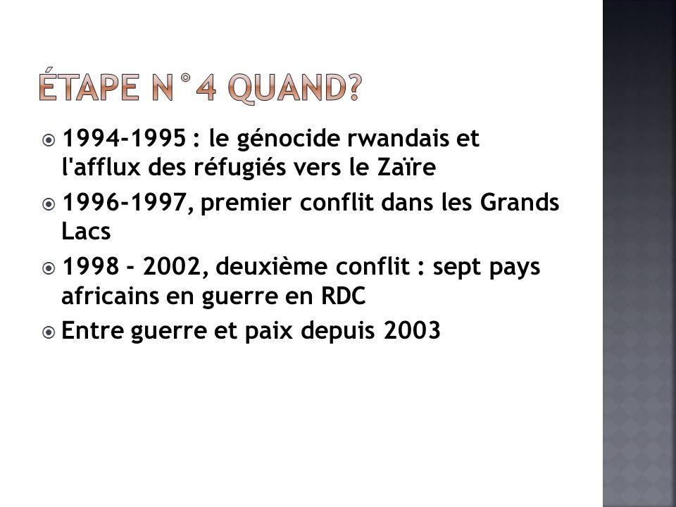1994-1995 : le génocide rwandais et l afflux des réfugiés vers le Zaïre 1996-1997, premier conflit dans les Grands Lacs 1998 - 2002, deuxième conflit : sept pays africains en guerre en RDC Entre guerre et paix depuis 2003