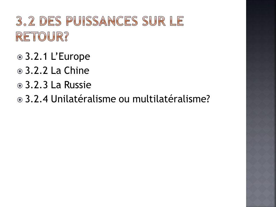 3.2.1 LEurope 3.2.2 La Chine 3.2.3 La Russie 3.2.4 Unilatéralisme ou multilatéralisme?