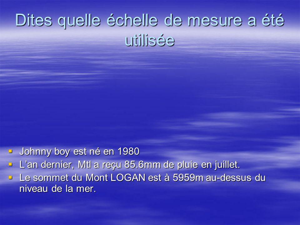 Dites quelle échelle de mesure a été utilisée Johnny boy est né en 1980 Johnny boy est né en 1980 Lan dernier, Mtl a reçu 85.6mm de pluie en juillet.
