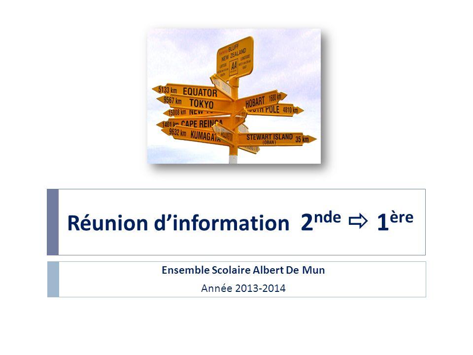 Réunion dinformation 2 nde 1 ère Ensemble Scolaire Albert De Mun Année 2013-2014