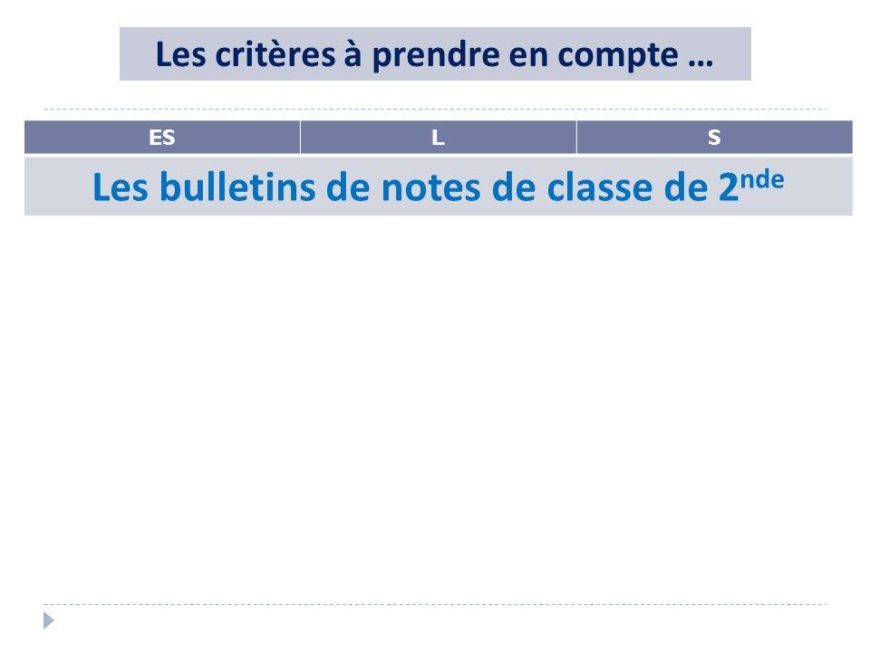 ESLS Les bulletins de notes de classe de 2 nde Les critères à prendre en compte …