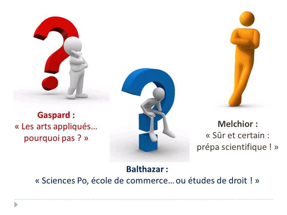Gaspard : « Les arts appliqués… pourquoi pas ? » Balthazar : « Sciences Po, école de commerce… ou études de droit ! » Melchior : « Sûr et certain : pr