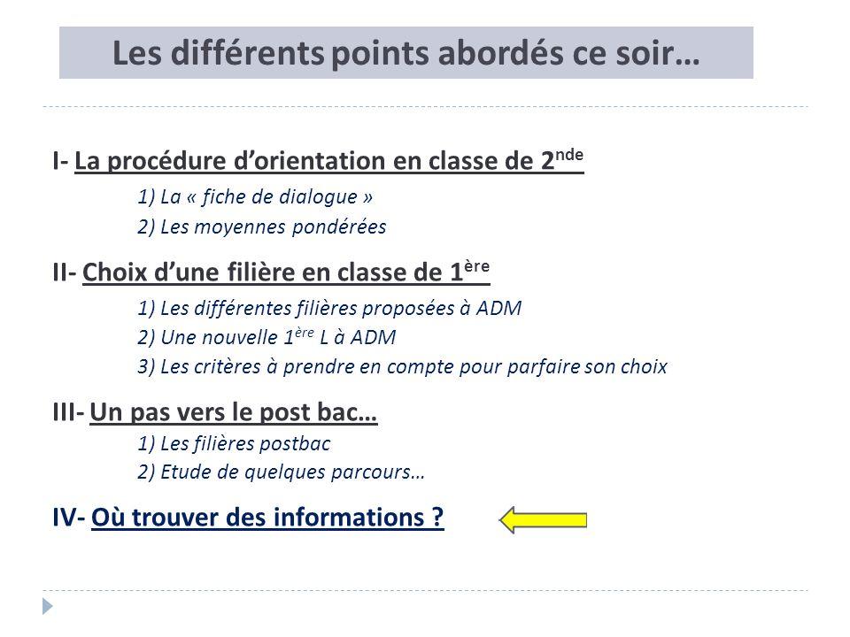 Les différents points abordés ce soir… I- La procédure dorientation en classe de 2 nde 1) La « fiche de dialogue » 2) Les moyennes pondérées II- Choix