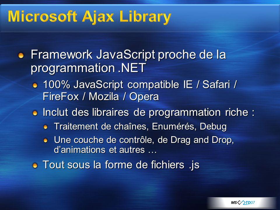 Framework JavaScript proche de la programmation.NET 100% JavaScript compatible IE / Safari / FireFox / Mozila / Opera Inclut des libraires de programmation riche : Traitement de chaînes, Enumérés, Debug Une couche de contrôle, de Drag and Drop, danimations et autres … Tout sous la forme de fichiers.js