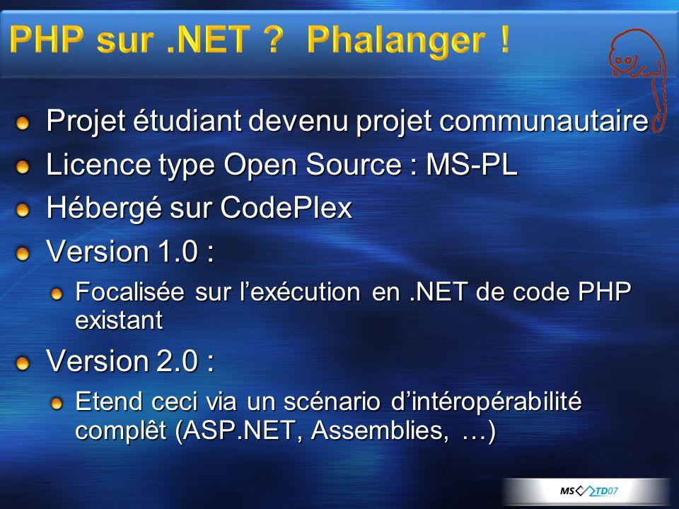Projet étudiant devenu projet communautaire Licence type Open Source : MS-PL Hébergé sur CodePlex Version 1.0 : Focalisée sur lexécution en.NET de code PHP existant Version 2.0 : Etend ceci via un scénario dintéropérabilité complêt (ASP.NET, Assemblies, …)
