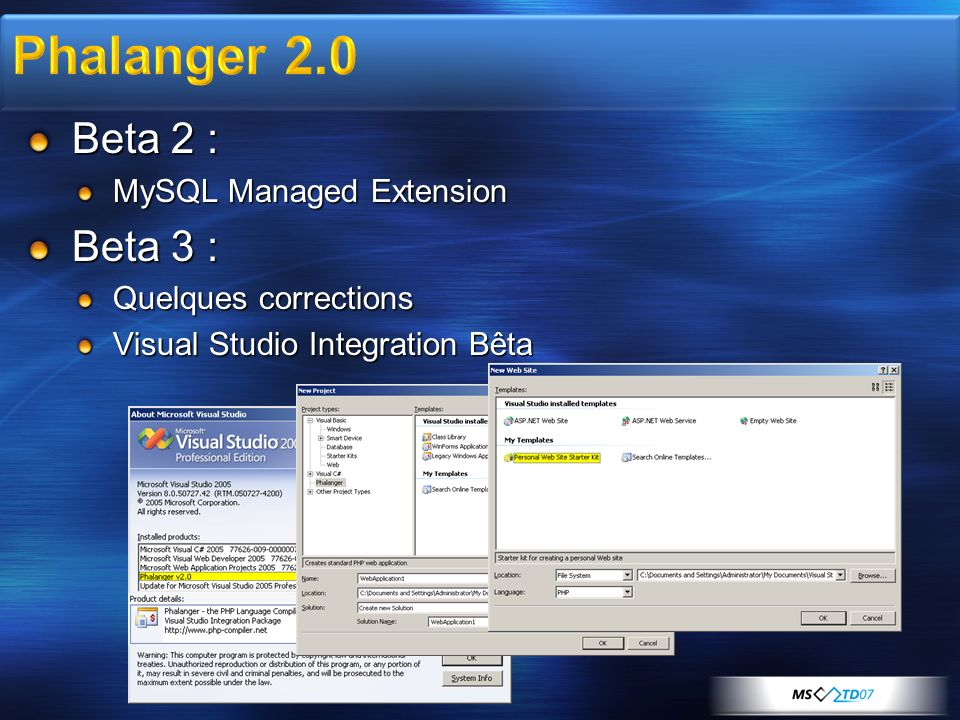Beta 2 : MySQL Managed Extension Beta 3 : Quelques corrections Visual Studio Integration Bêta