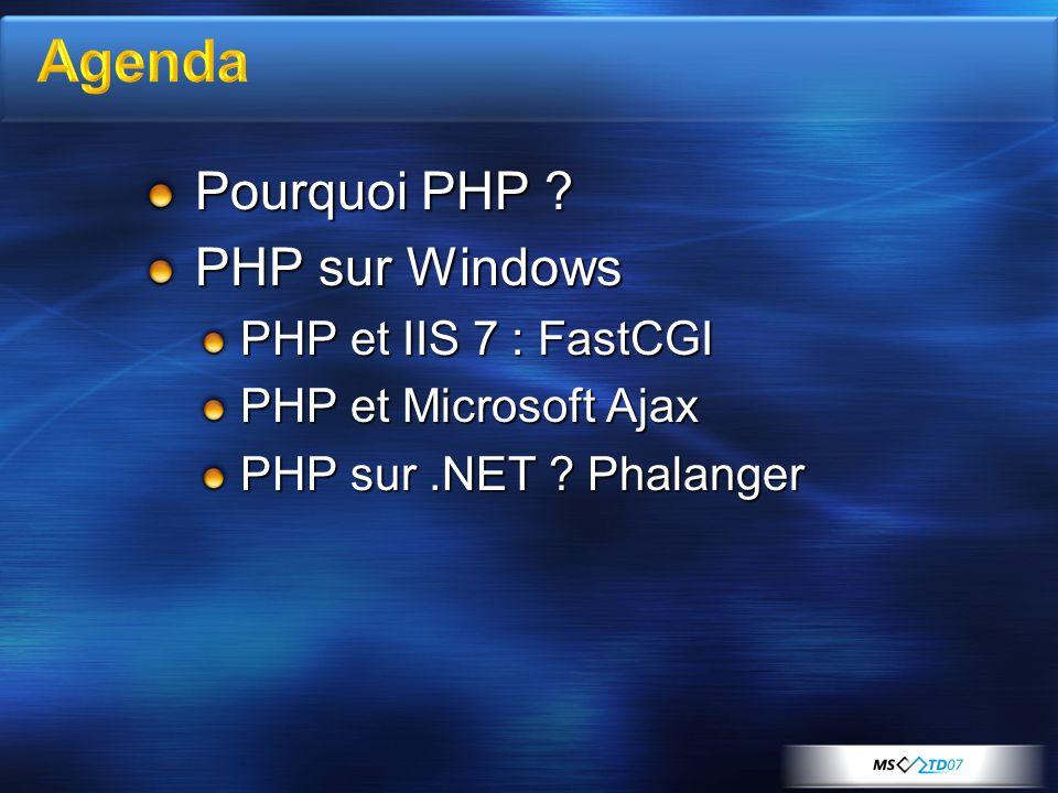 Pourquoi PHP PHP sur Windows PHP et IIS 7 : FastCGI PHP et Microsoft Ajax PHP sur.NET Phalanger