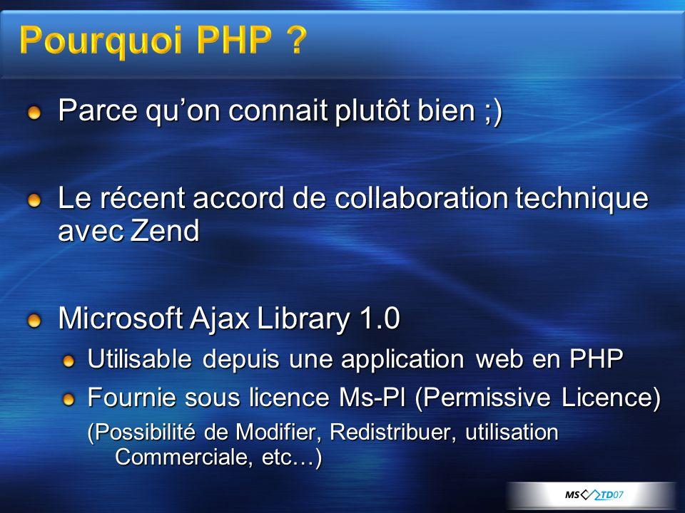 Parce quon connait plutôt bien ;) Le récent accord de collaboration technique avec Zend Microsoft Ajax Library 1.0 Utilisable depuis une application web en PHP Fournie sous licence Ms-Pl (Permissive Licence) (Possibilité de Modifier, Redistribuer, utilisation Commerciale, etc…)