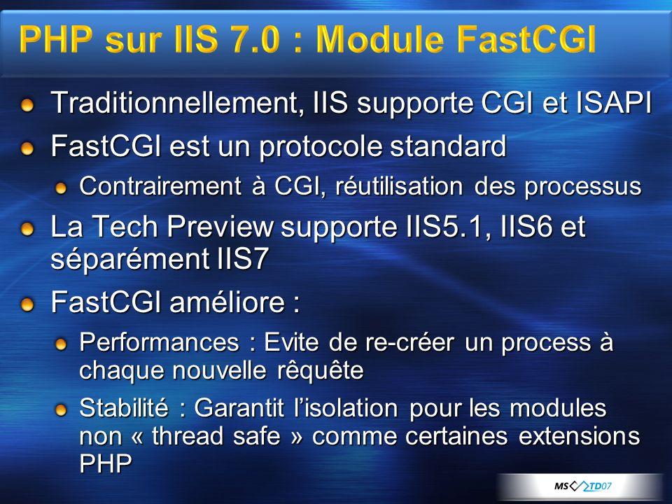 Traditionnellement, IIS supporte CGI et ISAPI FastCGI est un protocole standard Contrairement à CGI, réutilisation des processus La Tech Preview supporte IIS5.1, IIS6 et séparément IIS7 FastCGI améliore : Performances : Evite de re-créer un process à chaque nouvelle rêquête Stabilité : Garantit lisolation pour les modules non « thread safe » comme certaines extensions PHP