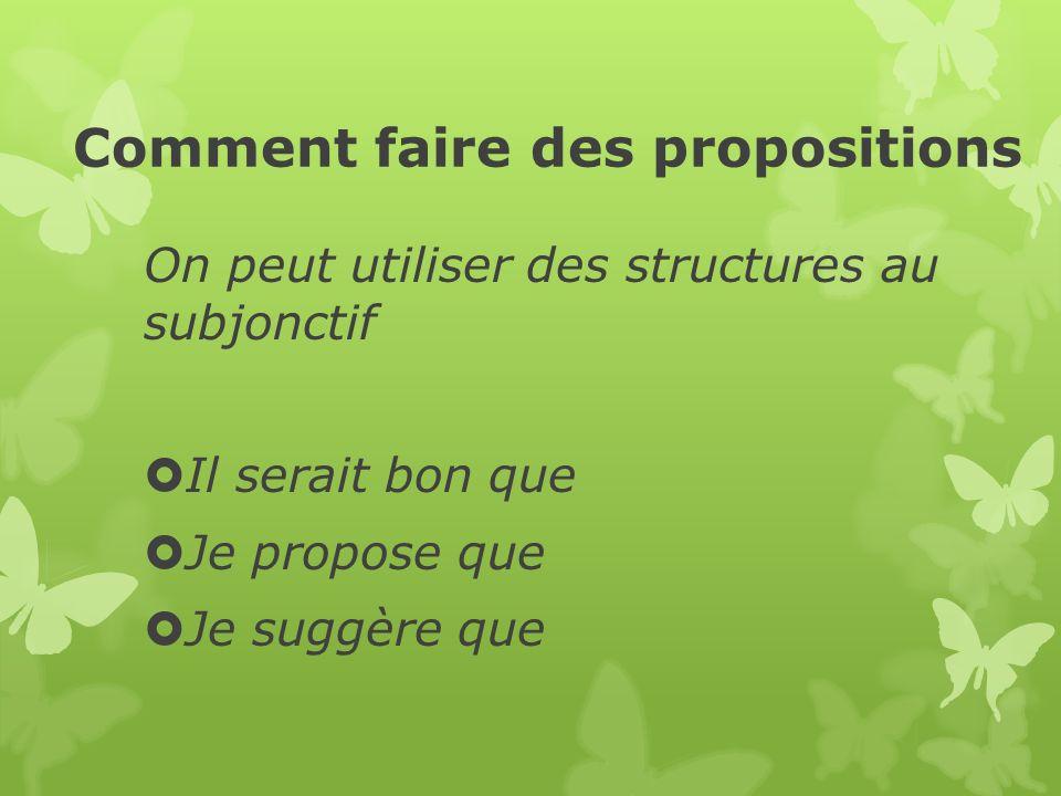 Comment faire des propositions On peut utiliser des structures au subjonctif Il serait bon que Je propose que Je suggère que