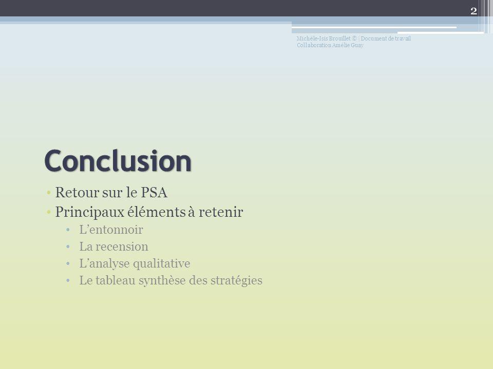 Retour sur le PSA Principaux éléments à retenir Lentonnoir La recension Lanalyse qualitative Le tableau synthèse des stratégies Michèle-Isis Brouillet