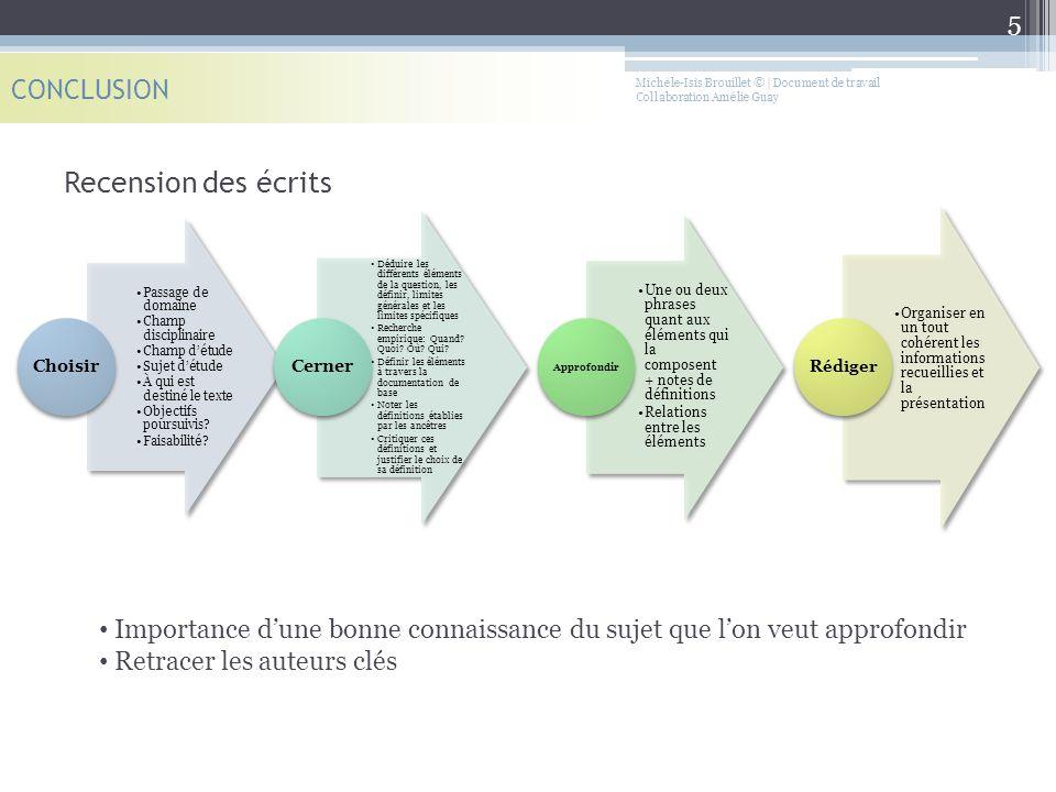 Recension des écrits CONCLUSION Michèle-Isis Brouillet © | Document de travail Collaboration Amélie Guay Passage de domaine Champ disciplinaire Champ
