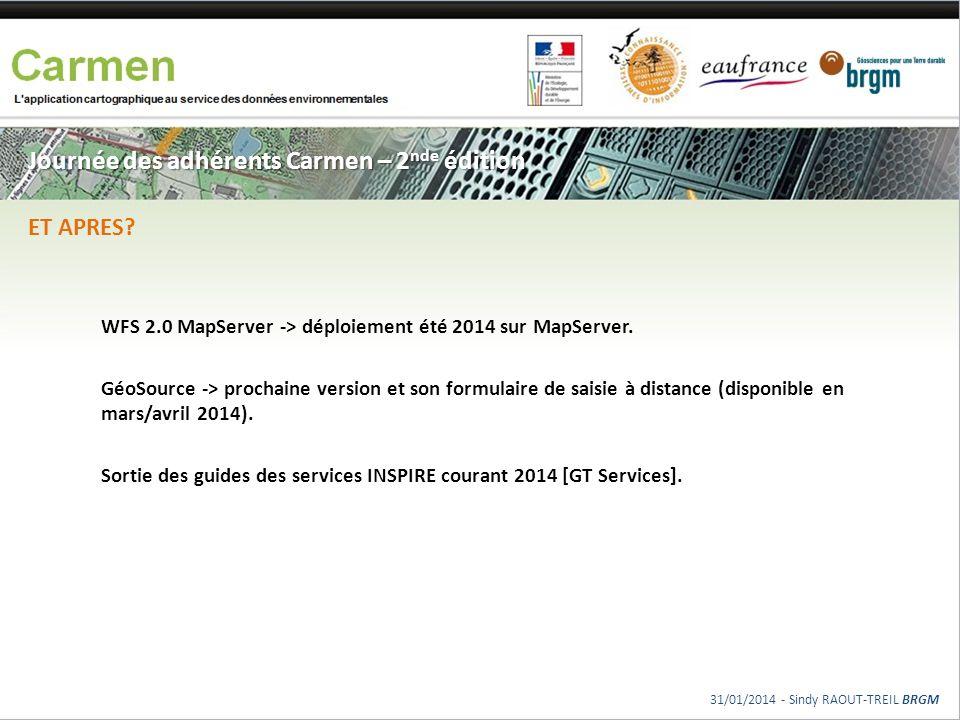 Journée des adhérents Carmen – 2 nde édition WFS 2.0 MapServer -> déploiement été 2014 sur MapServer. GéoSource -> prochaine version et son formulaire