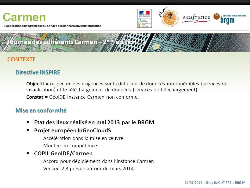 Journée des adhérents Carmen – 2 nde édition Directive INSPIRE Objectif = respecter des exigences sur la diffusion de données interopérables (services