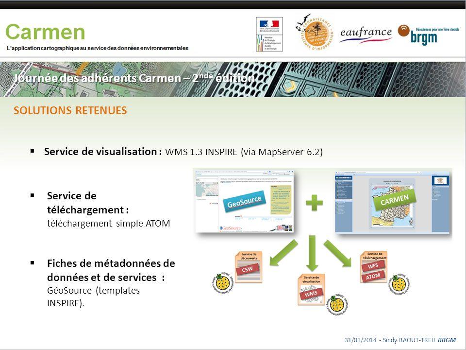Journée des adhérents Carmen – 2 nde édition Service de téléchargement : téléchargement simple ATOM Fiches de métadonnées de données et de services :