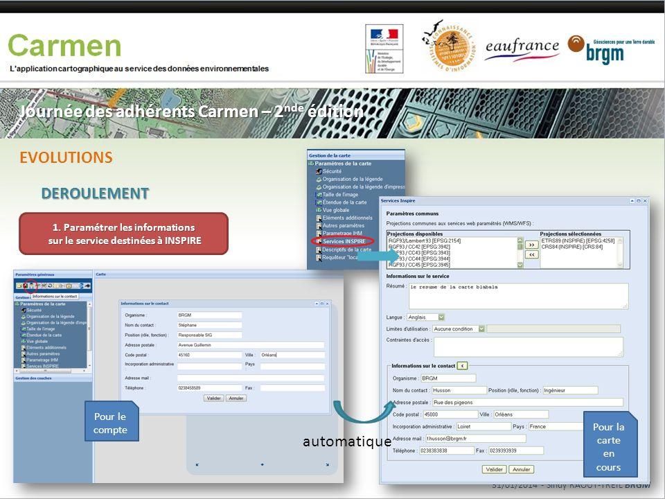 Journée des adhérents Carmen – 2 nde édition DEROULEMENT EVOLUTIONS 31/01/2014 - Sindy RAOUT-TREIL BRGM 1. Paramétrer les informations sur le service
