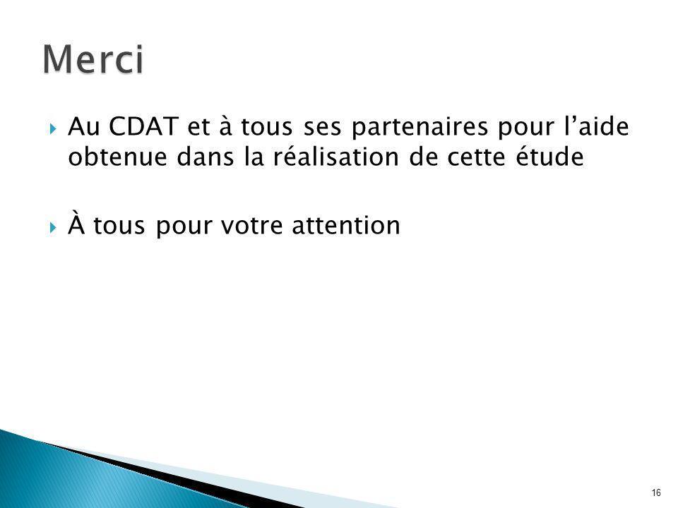 Au CDAT et à tous ses partenaires pour laide obtenue dans la réalisation de cette étude À tous pour votre attention 16