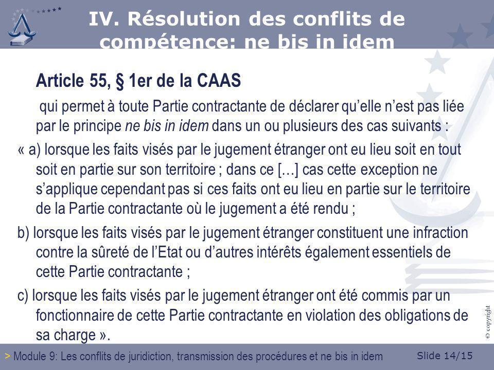 Slide 14/15 © copyright Article 55, § 1er de la CAAS qui permet à toute Partie contractante de déclarer quelle nest pas liée par le principe ne bis in