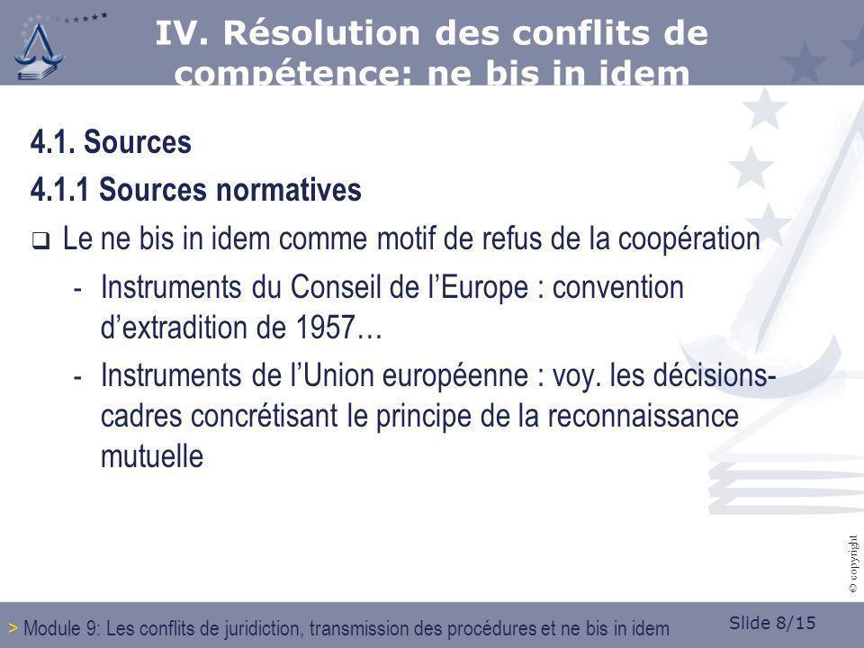Slide 8/15 © copyright 4.1. Sources 4.1.1 Sources normatives Le ne bis in idem comme motif de refus de la coopération - Instruments du Conseil de lEur