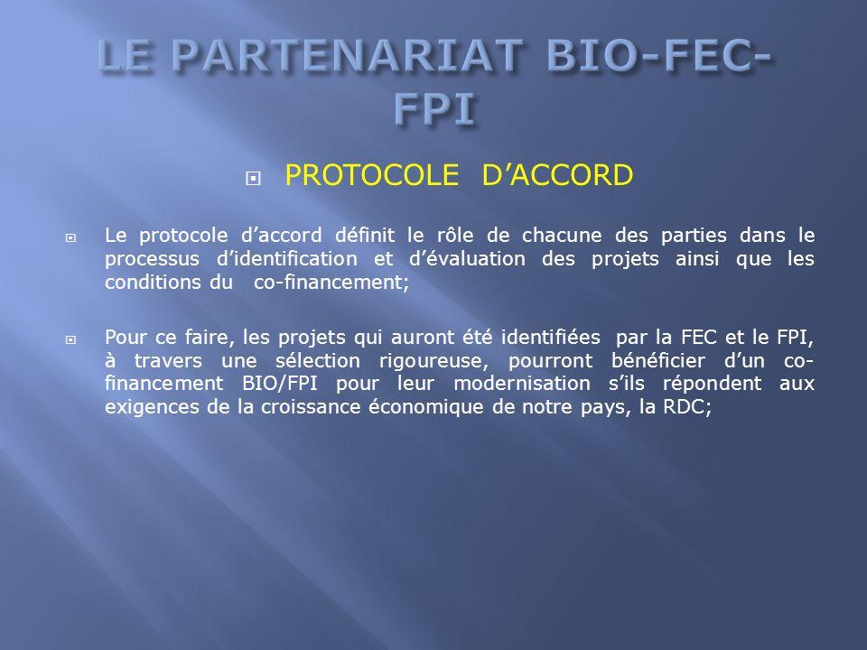 PROTOCOLE DACCORD Le protocole daccord définit le rôle de chacune des parties dans le processus didentification et dévaluation des projets ainsi que l