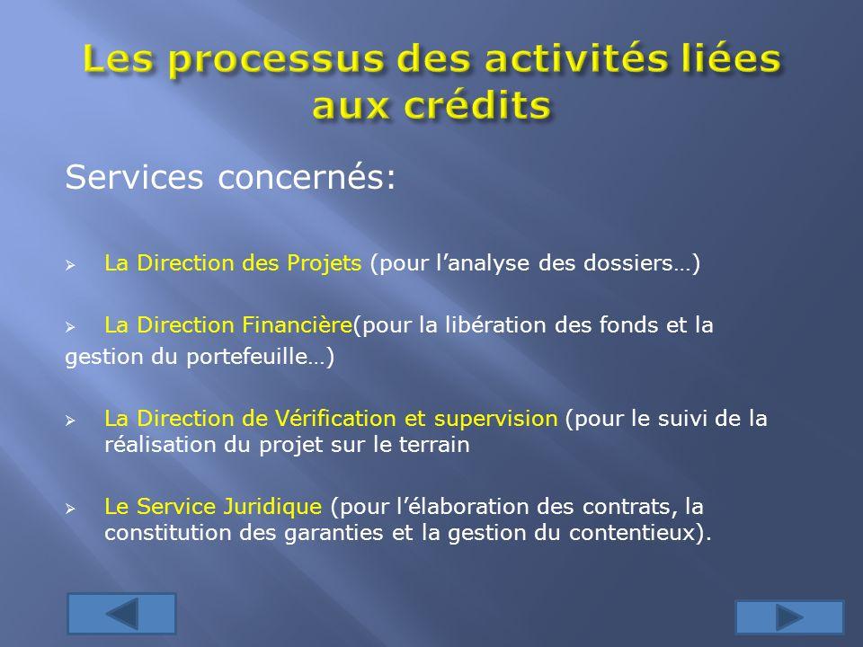 Services concernés: La Direction des Projets (pour lanalyse des dossiers…) La Direction Financière(pour la libération des fonds et la gestion du porte