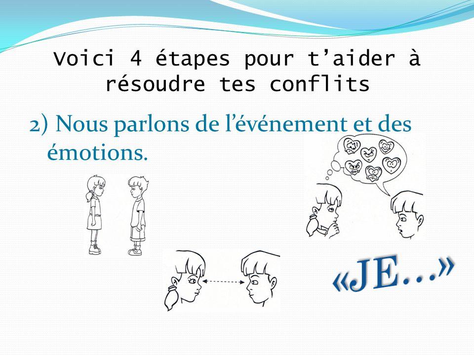 2) Nous parlons de lévénement et des émotions. Voici 4 étapes pour taider à résoudre tes conflits