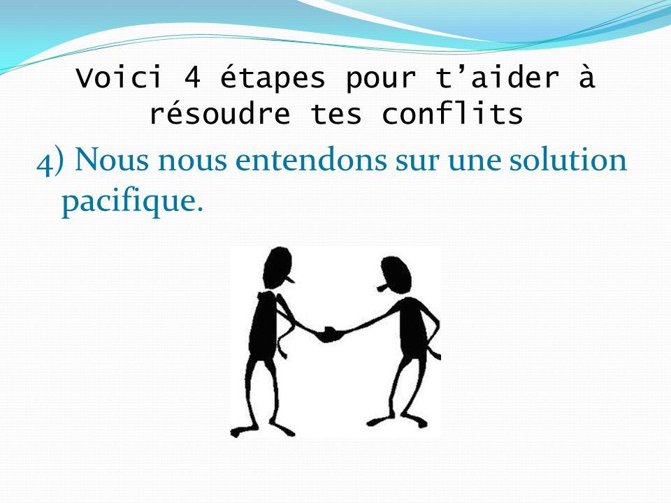 4) Nous nous entendons sur une solution pacifique. Voici 4 étapes pour taider à résoudre tes conflits