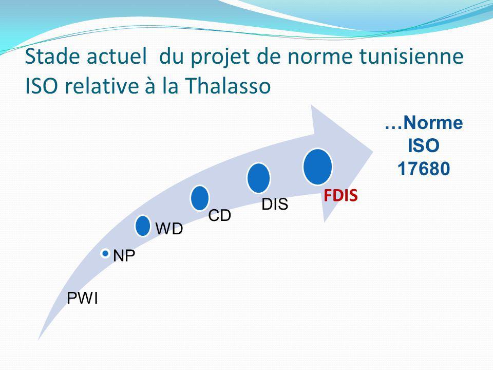 Stade actuel du projet de norme tunisienne ISO relative à la Thalasso CD DIS FDIS WD NP PWI …Norme ISO 17680