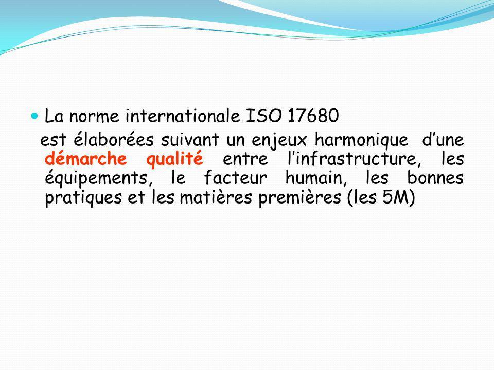 La norme internationale ISO 17680 est élaborées suivant un enjeux harmonique dune démarche qualité entre linfrastructure, les équipements, le facteur