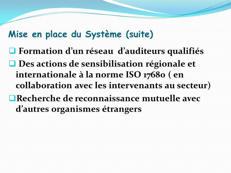 Mise en place du Système (suite) Formation dun réseau dauditeurs qualifiés Des actions de sensibilisation régionale et internationale à la norme ISO 1