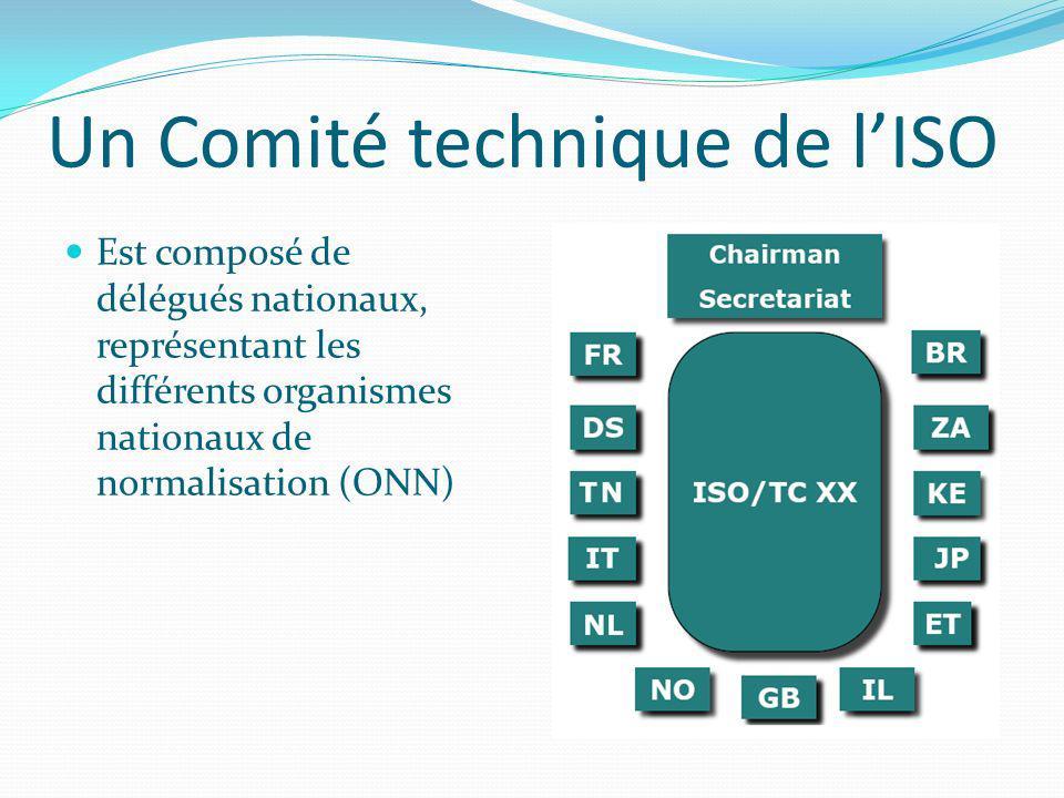 Un Comité technique de lISO Est composé de délégués nationaux, représentant les différents organismes nationaux de normalisation (ONN)