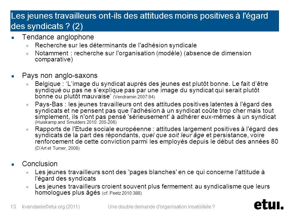 kvandaele©etui.org (2011) Une double demande d'organisation insatisfaite ? 13 Les jeunes travailleurs ont-ils des attitudes moins positives à l'égard