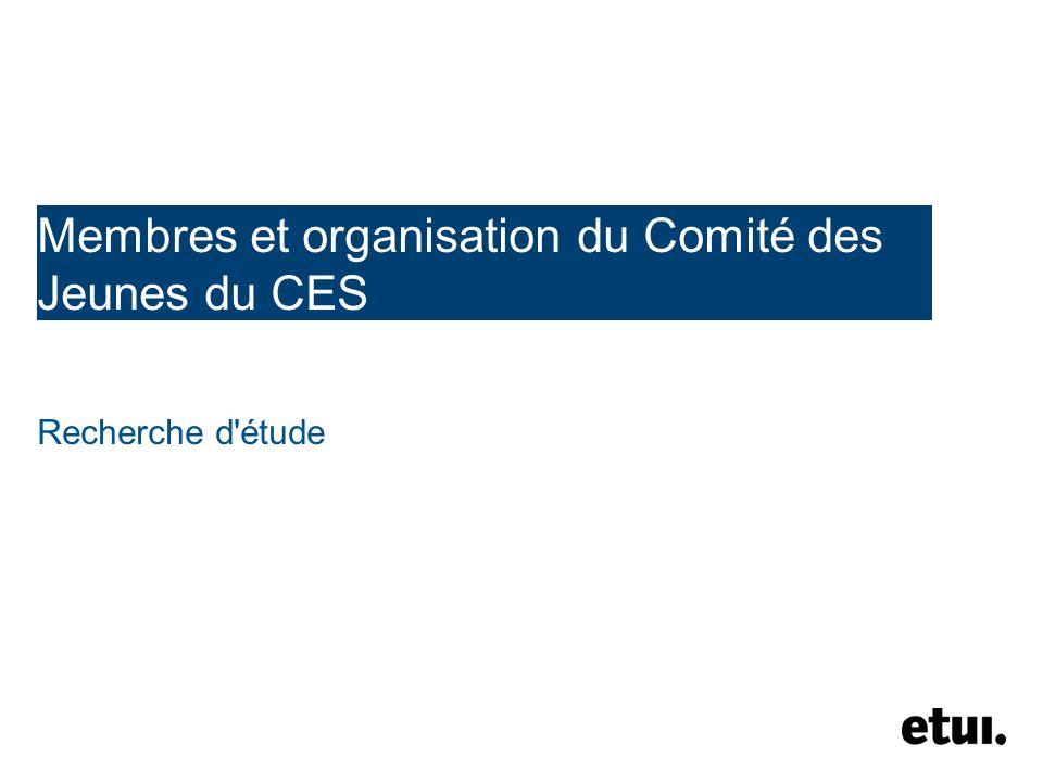 Membres et organisation du Comité des Jeunes du CES Recherche d étude