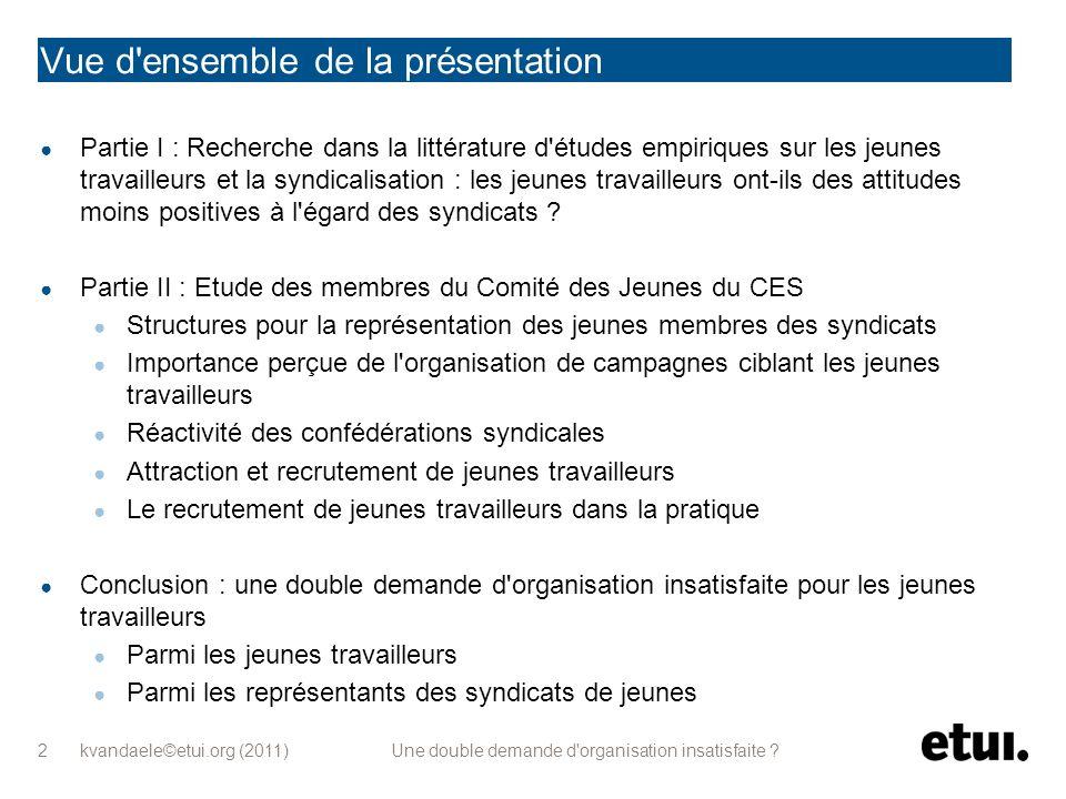 kvandaele©etui.org (2011) Une double demande d'organisation insatisfaite ? 2 Vue d'ensemble de la présentation Partie I : Recherche dans la littératur