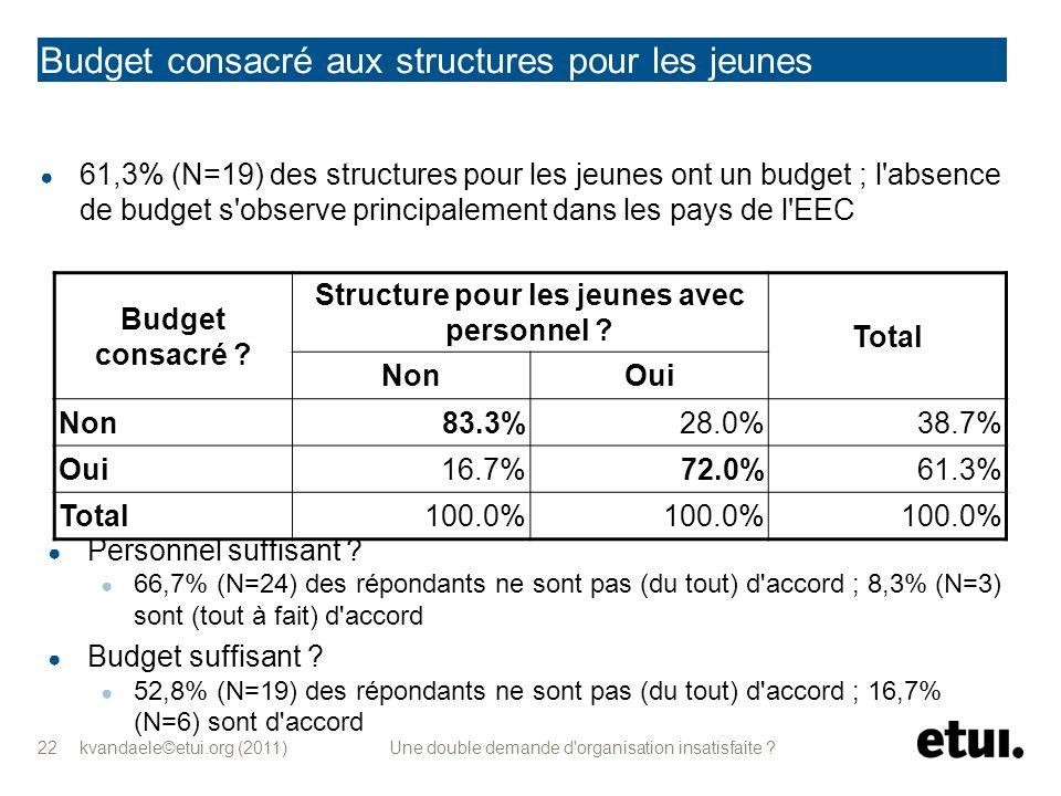 kvandaele©etui.org (2011) Une double demande d'organisation insatisfaite ? 22 Budget consacré aux structures pour les jeunes 61,3% (N=19) des structur