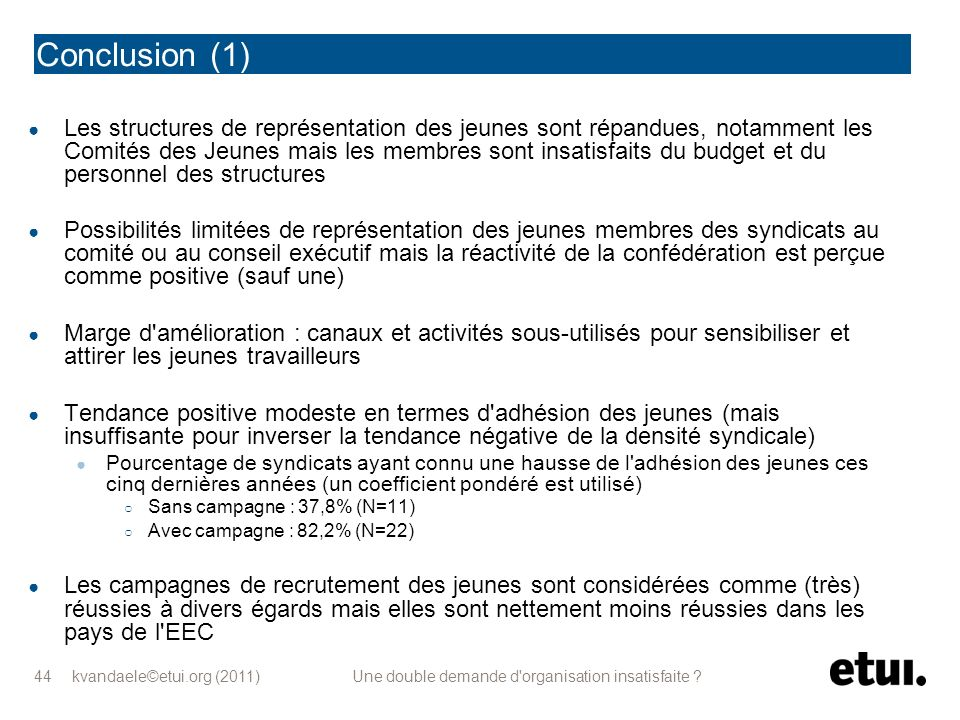 kvandaele©etui.org (2011) Une double demande d'organisation insatisfaite ? 44 Conclusion (1) Les structures de représentation des jeunes sont répandue