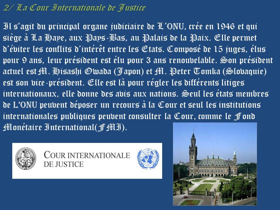 2/ La Cour Internationale de Justice Il sagit du principal organe judiciaire de L ONU, crée en 1946 et qui siège à La Haye, aux Pays-Bas, au Palais de la Paix.