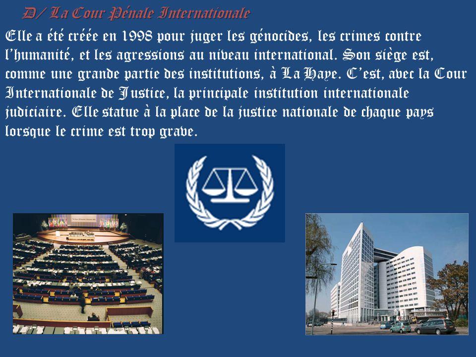 D/ La Cour Pénale Internationale D/ La Cour Pénale Internationale Elle a été créée en 1998 pour juger les génocides, les crimes contre lhumanité, et les agressions au niveau international.